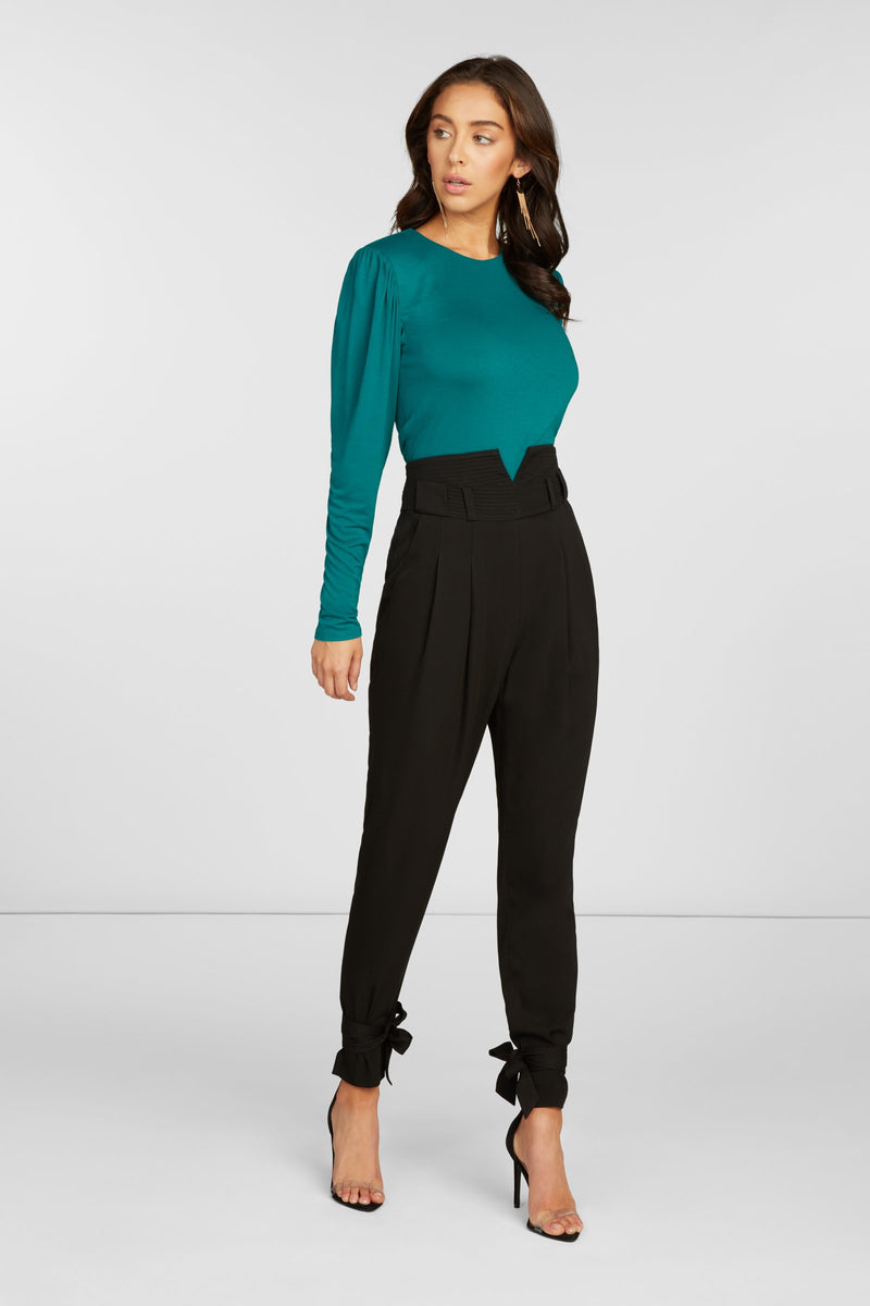 Romy Long Sleeve Tee in Teal Stretch Rayon Jersey with Shoulder Pads and Shirring at Shoulders