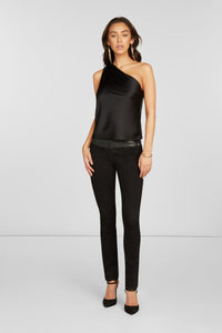 Brighton One Shoulder Blouse in Black Stretch Silk Satin with Pleats and Metal Rectangular Ring
