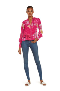 Pauline Long Sleeve Blouse in Hot Pink Silk Blend Clip Dot Floral Printed with Lace Detail