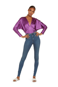 Colette Long Sleeve Bodysuit In Violet Stretch Silk Satin With Snap Closure