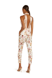 Marie Cotton High Waist Pants in White Floral