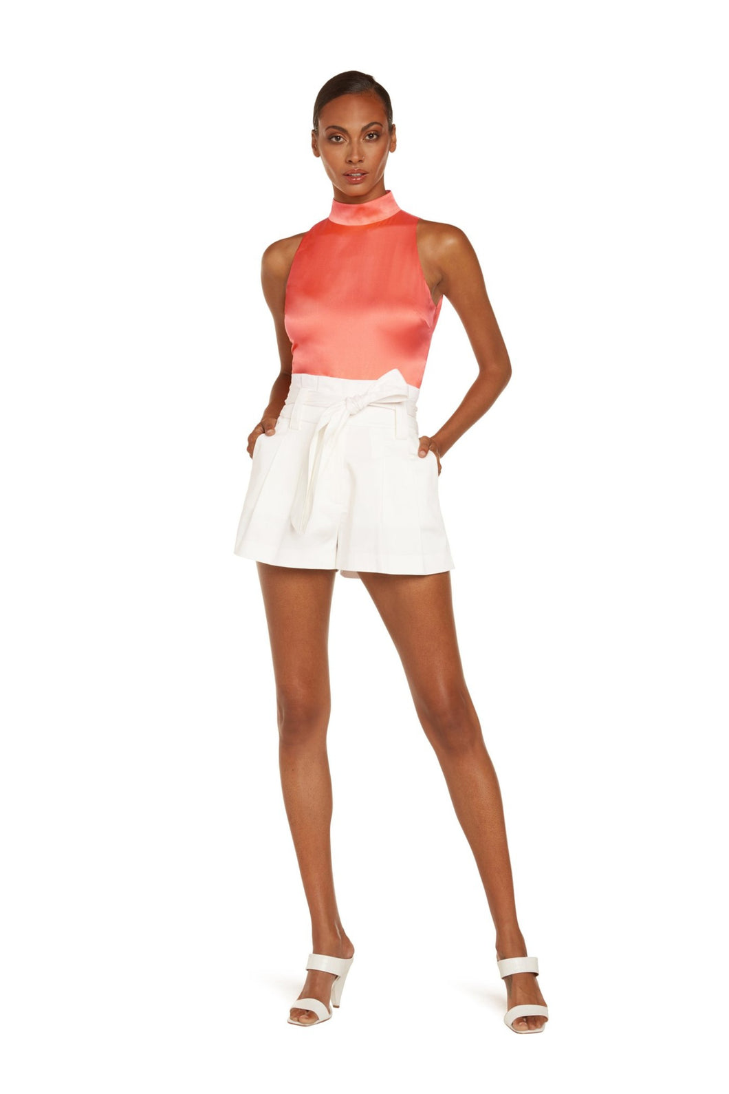 Skyler Sleeveless Turtleneck Bodysuit In Coral Stretch Silk Satin With Snap Closure At Bottom