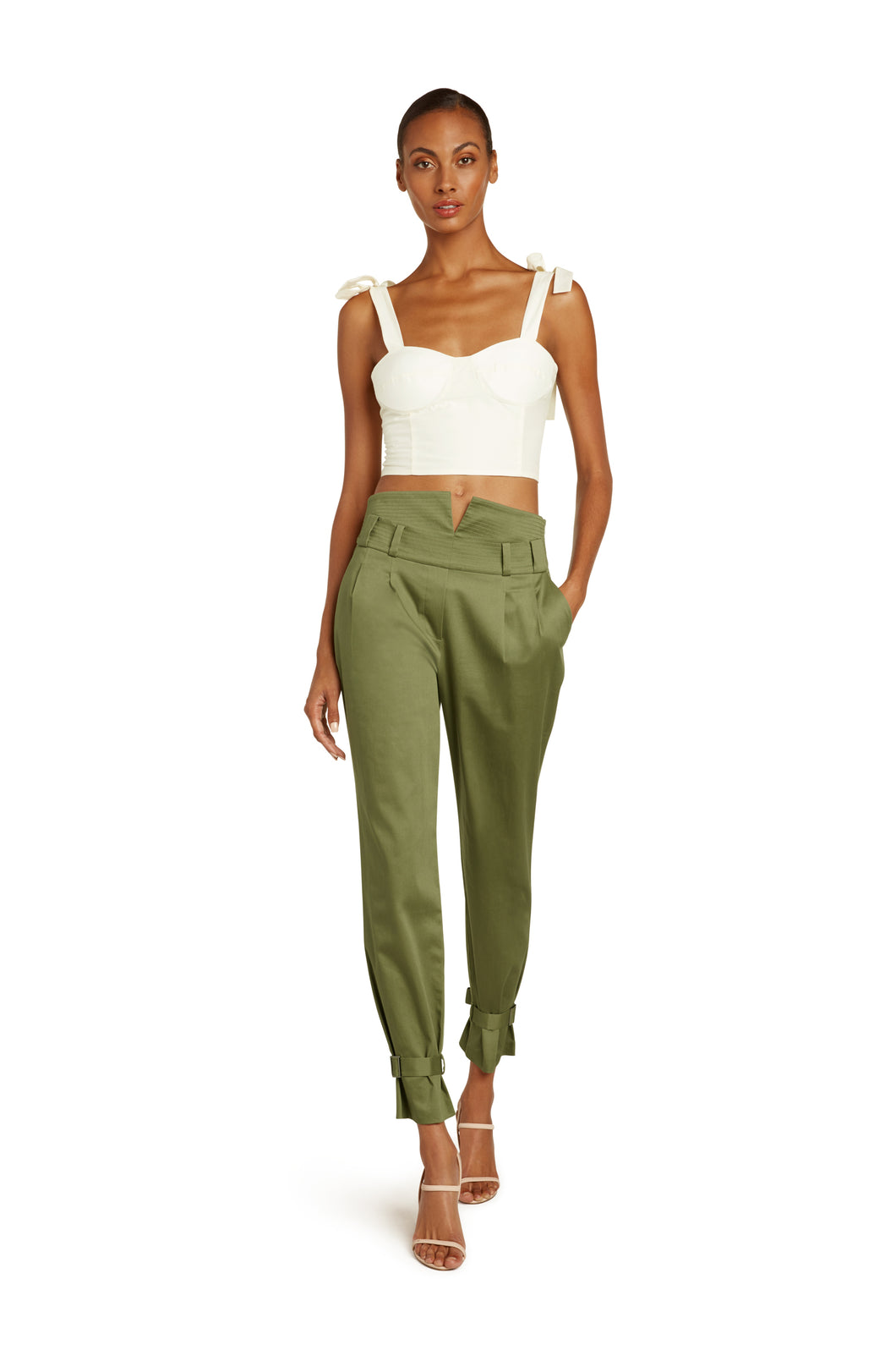 Marie Cotton High Waist Pants in Army Green