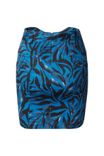 Load image into Gallery viewer, Mara High Waisted Mini Skirt in Navy Zebra Stretch Cotton Sateen with Belt