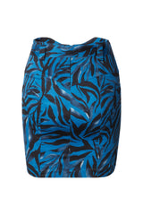 Mara High Waisted Mini Skirt in Navy Zebra Stretch Cotton Sateen with Belt