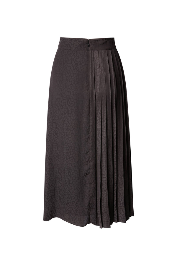 Cameron High Waisted Midi Skirt in Black Silky Animal Jacquard with Pleat Inset