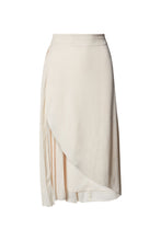Load image into Gallery viewer, Cameron High Waist Midi Skirt in Vintage White Silky Animal Jacquard with Pleat Inset