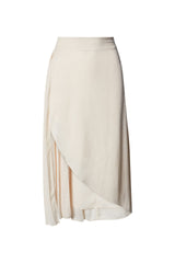 Cameron High Waisted Midi Skirt in Vintage White Silky Animal Jacquard with Pleat Inset