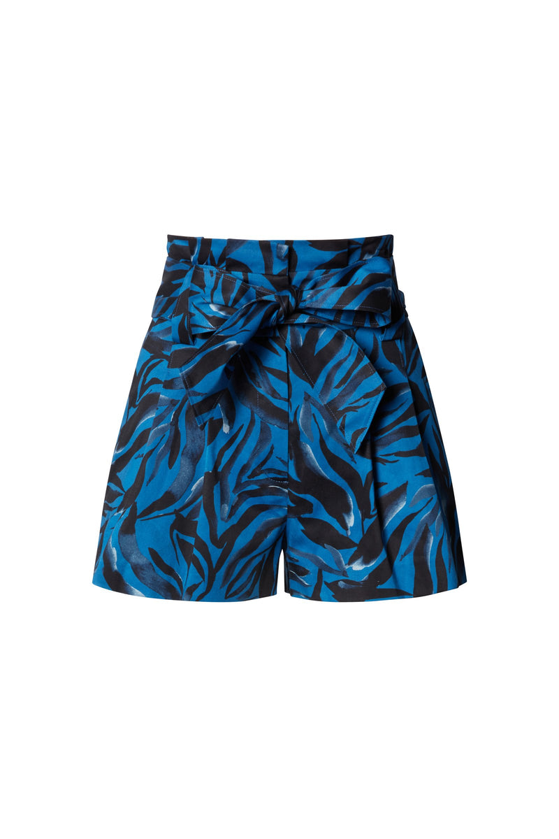 Claire High Waisted Short Shorts in Navy Zebra Stretch Cotton Sateen with Pleat Detail