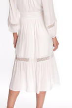 Load image into Gallery viewer, Lara V-Neck Midi Dress in White Silky Dot Jacquard with Lace Insets