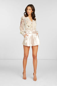Pauline Long Sleeve Blouse in Off White Silk Blend Clip Dot Floral Printed with Lace Detail