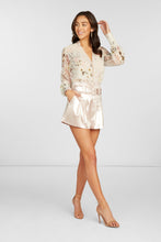 Load image into Gallery viewer, Pauline Long Sleeve Blouse in Off White Silk Blend Clip Dot Floral Printed with Lace Detail