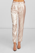 Load image into Gallery viewer, Erika Ankle Length Trouser in Pearl Pink Foil Crepe with Side Pockets and Self Belt