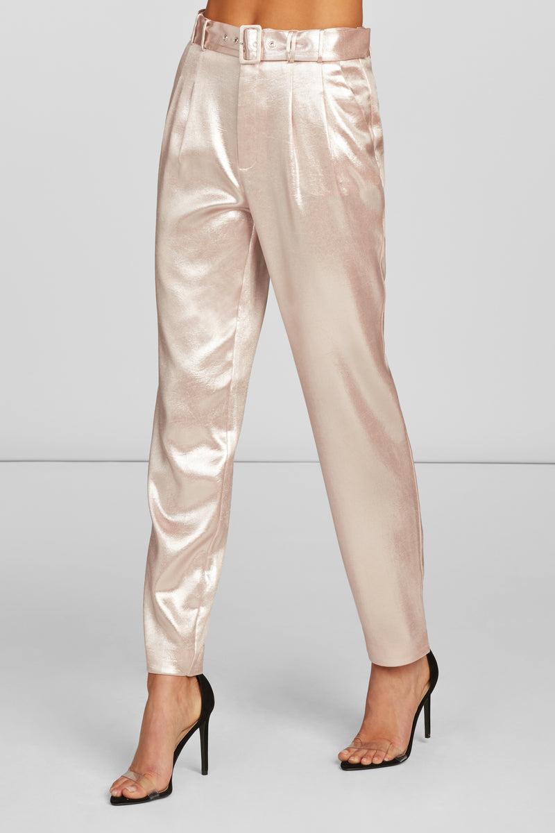 Erika Ankle Length Trouser in Pearl Pink Foil Crepe with Side Pockets and Self Belt