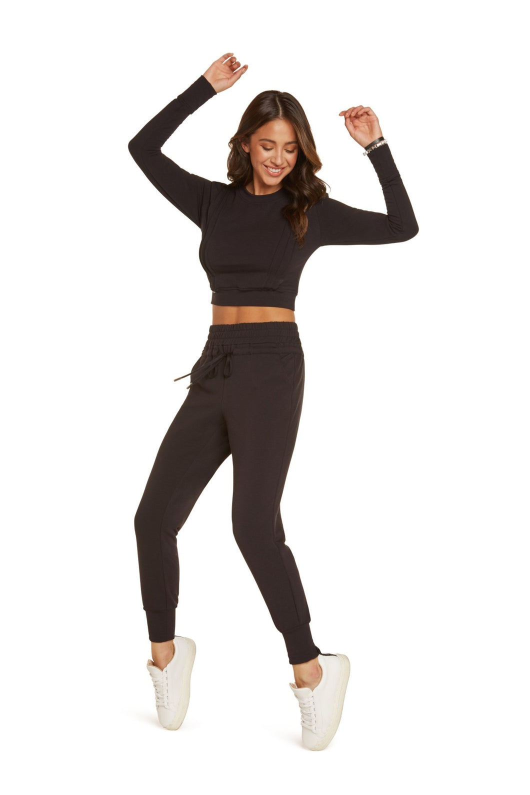Melanie High Waisted Track Pants in Black Modal French Terry with Wide Elastic Waist Band