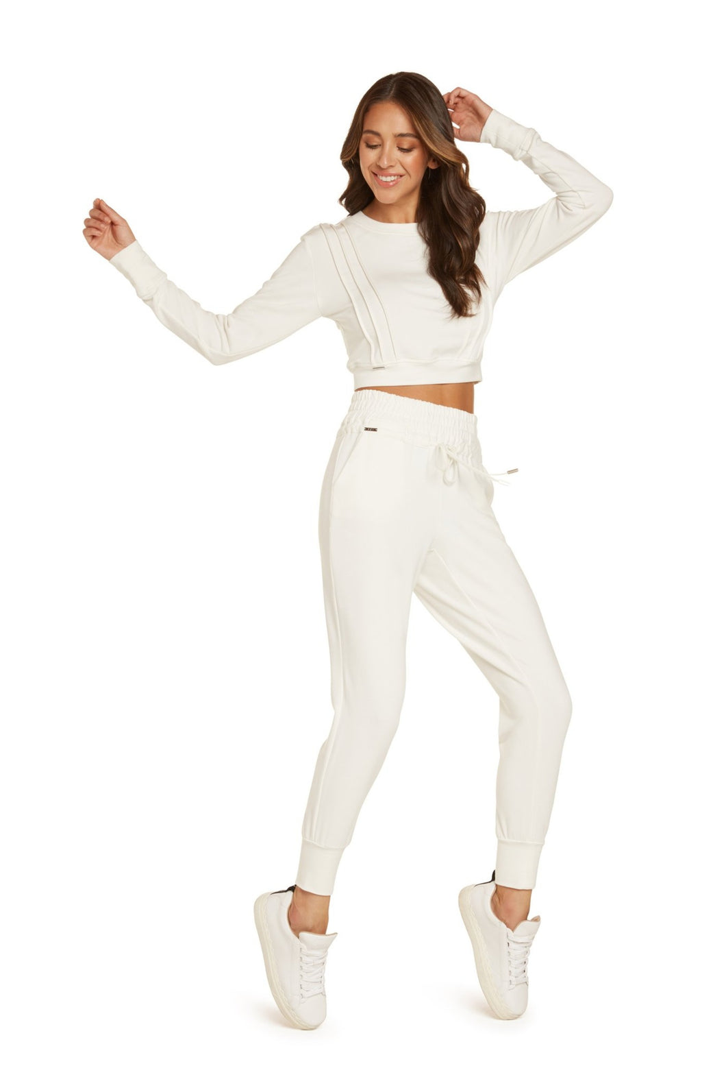 Melanie High Waisted Track Pants in Vintage White Modal French Terry with Wide Elastic Waist Band