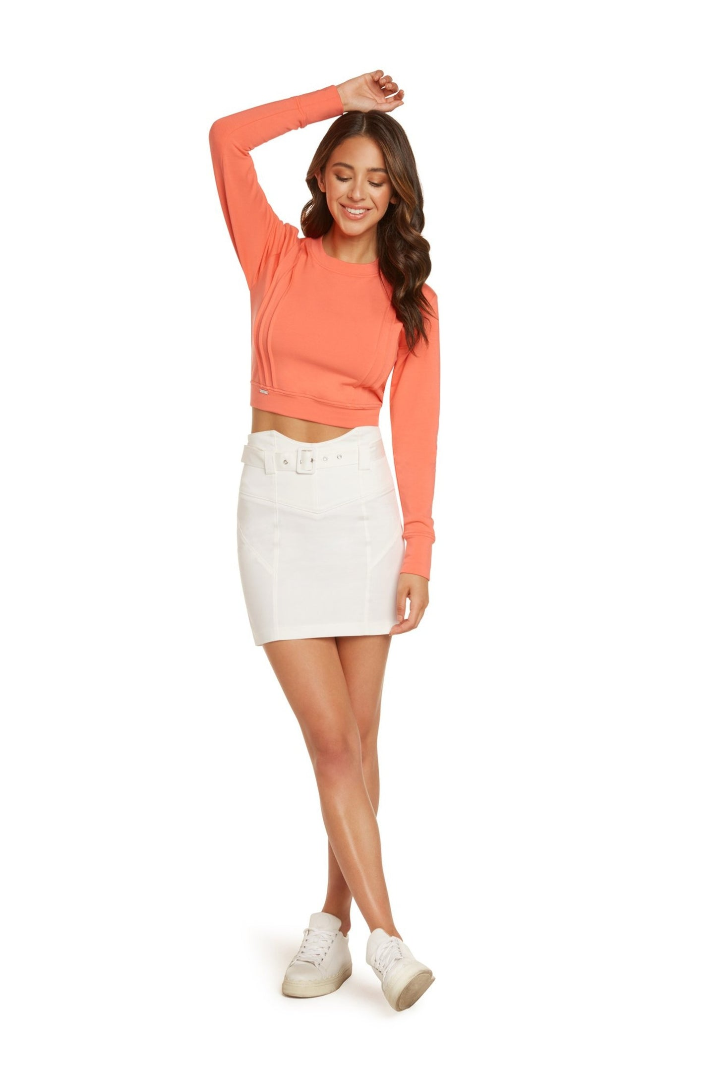 Mara High Waisted Mini Skirt in White Stretch Cotton Sateen with Belt