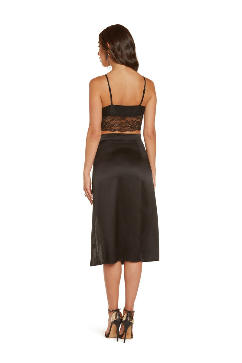 Serena Cropped Cami In Black Stretch Lace With Adjustable Silk Satin Straps