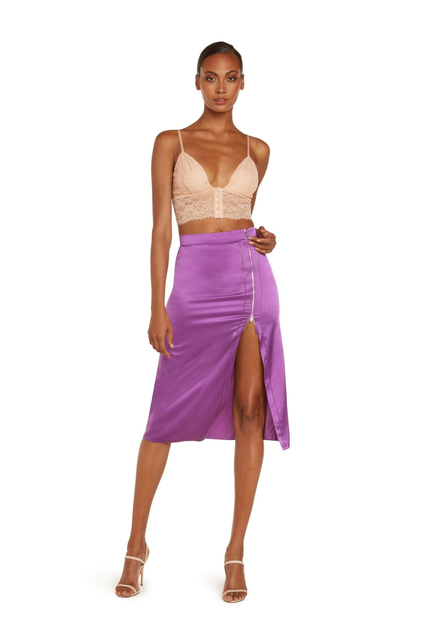 Anya High Waisted Midi Skirt In Violet Stretch Silk Satin With Crochet and Exposed Zipper