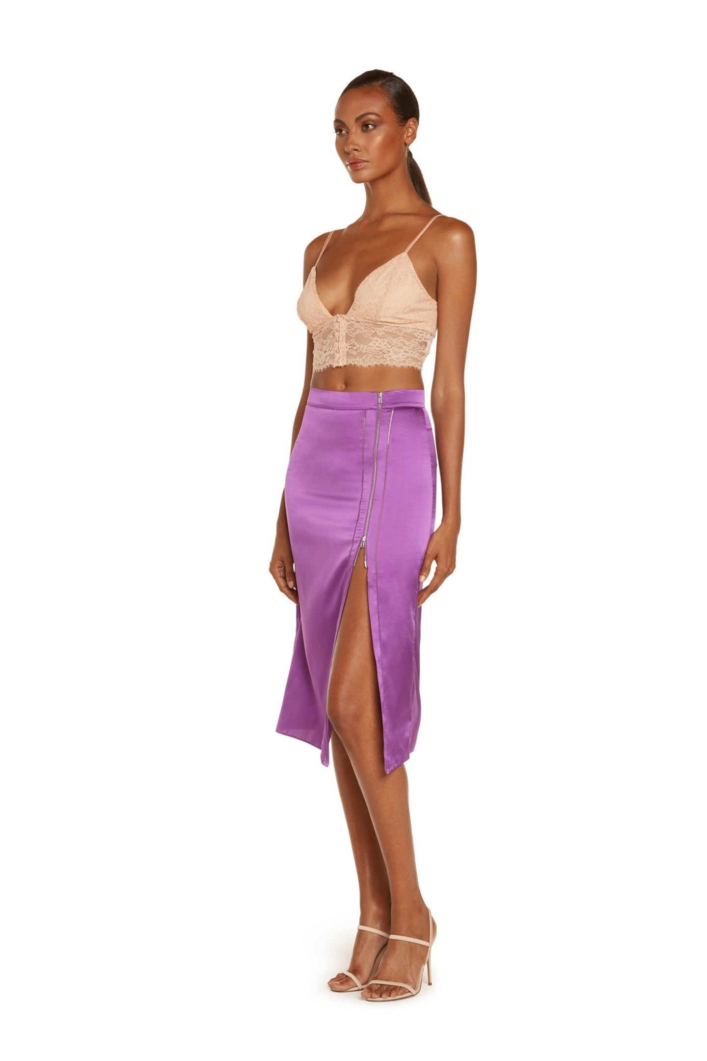Serena Cropped Cami In Blush Stretch Lace With Adjustable Silk Satin Straps