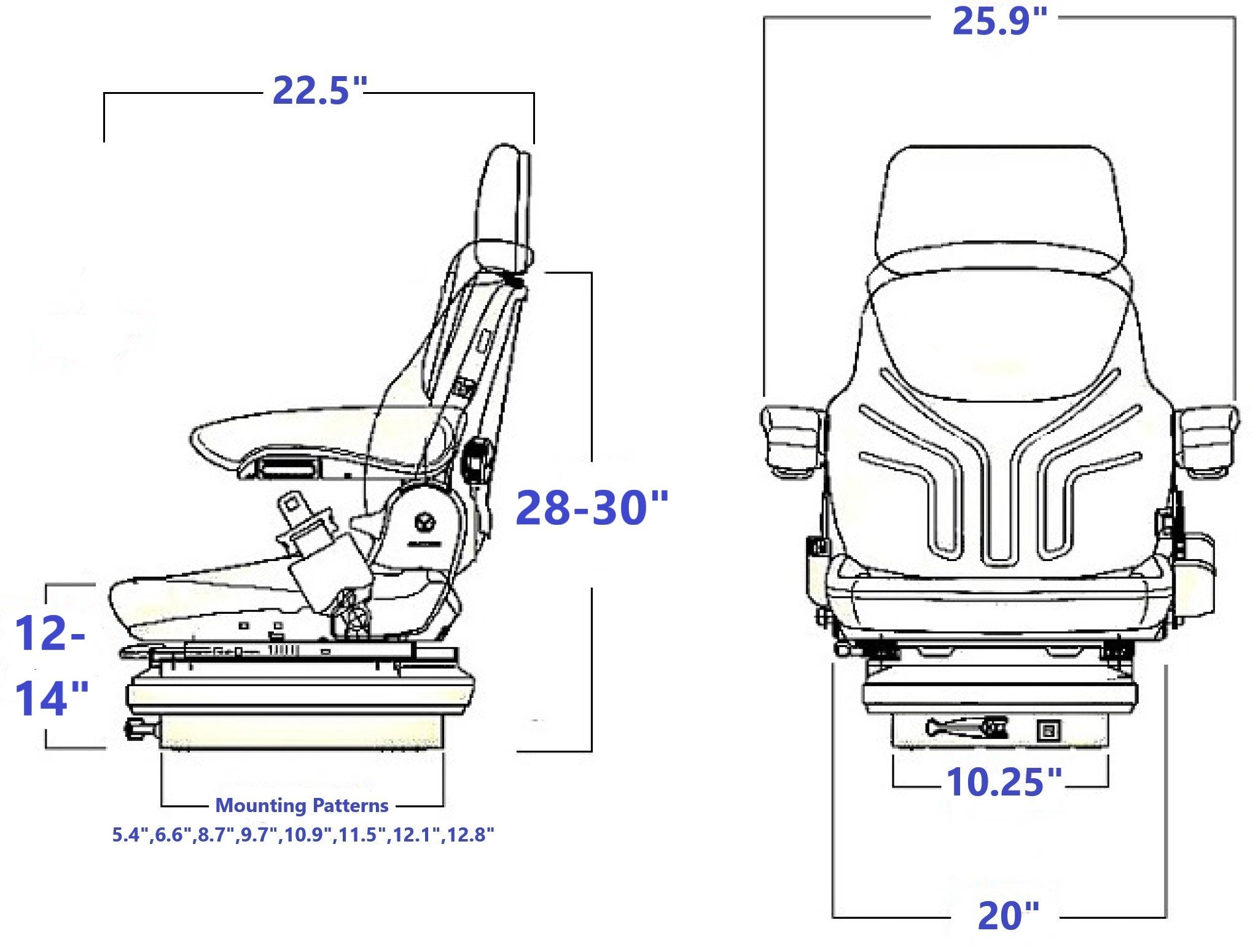 Grammer MSG85/731S Technical Drawing