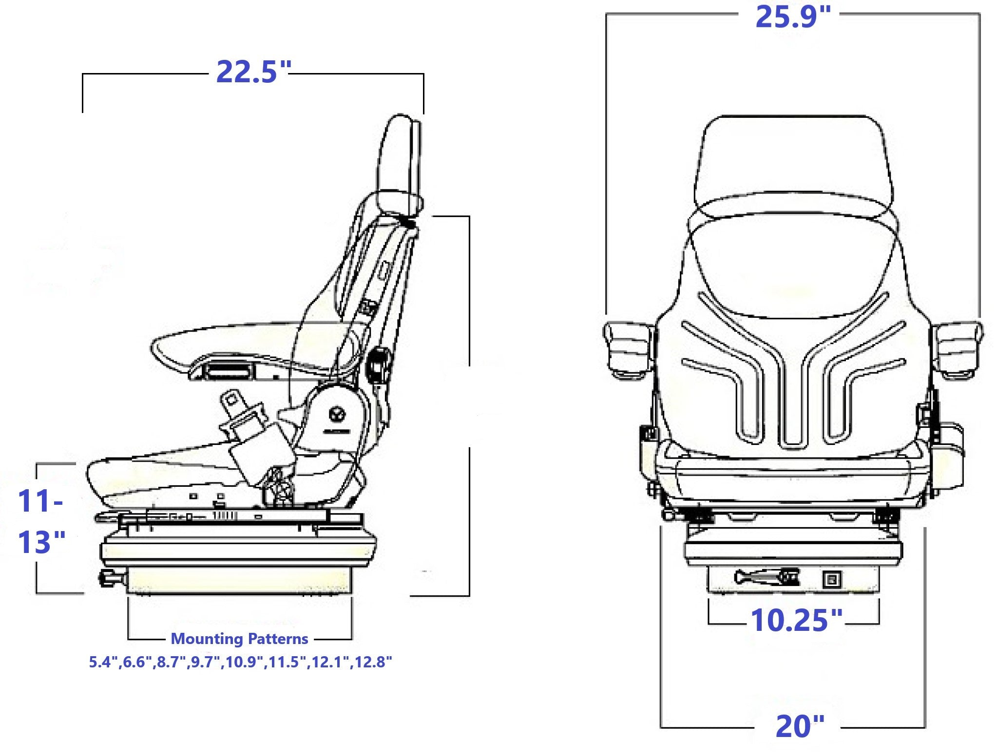 Grammer MSG85/721 Technical Drawing