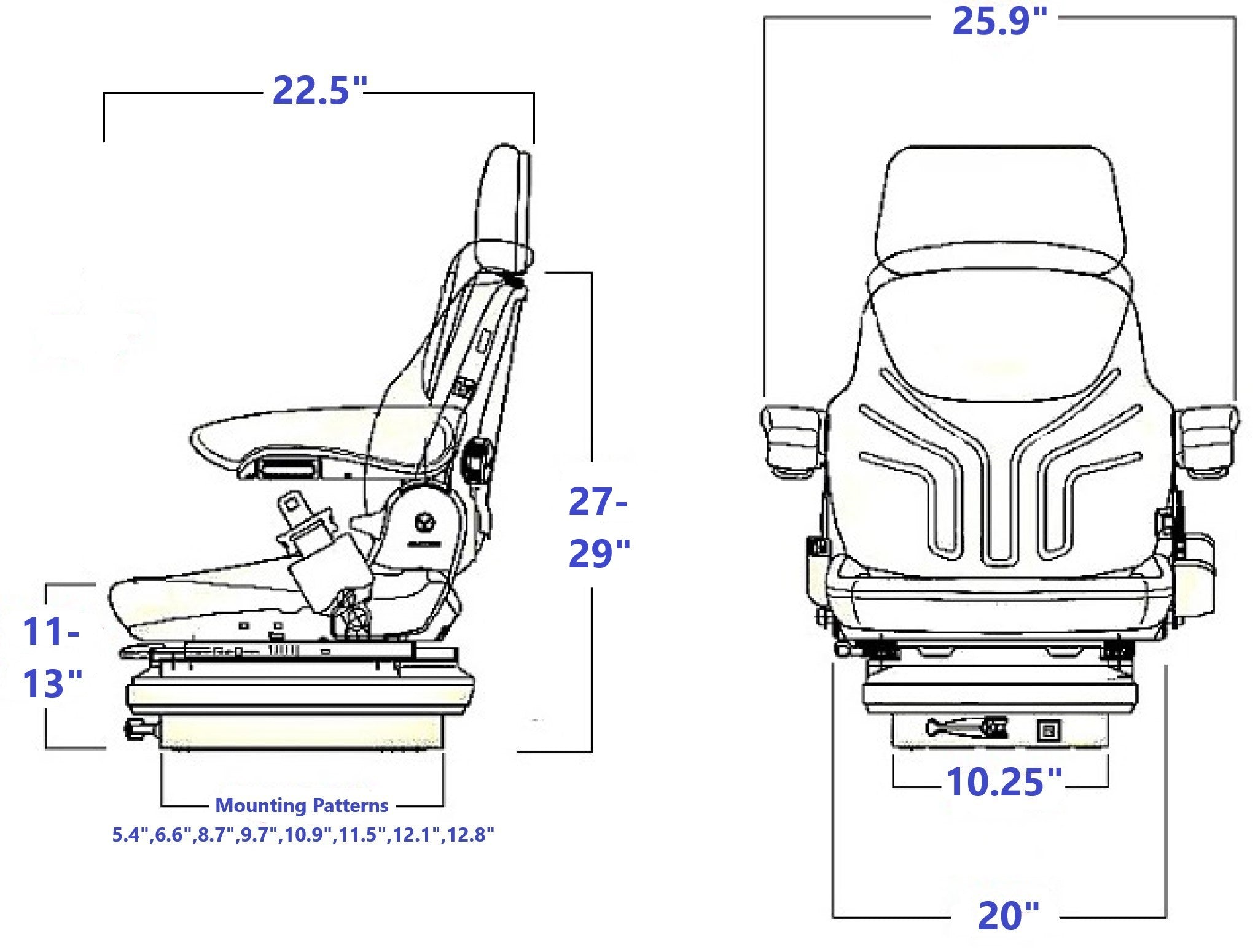 Grammer MSG85/731 Technical Drawing