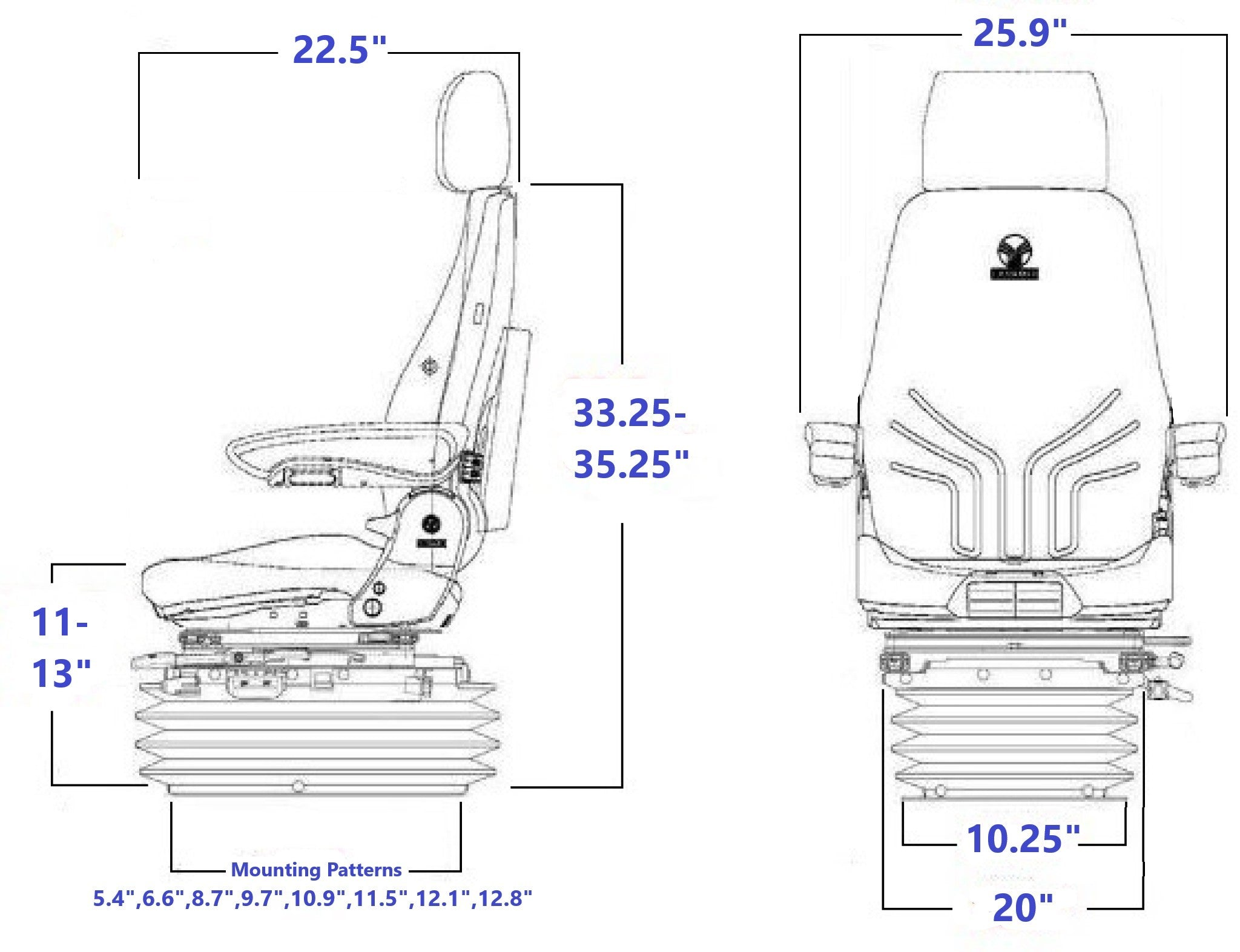 Grammer MSG85/732 Technical Drawing