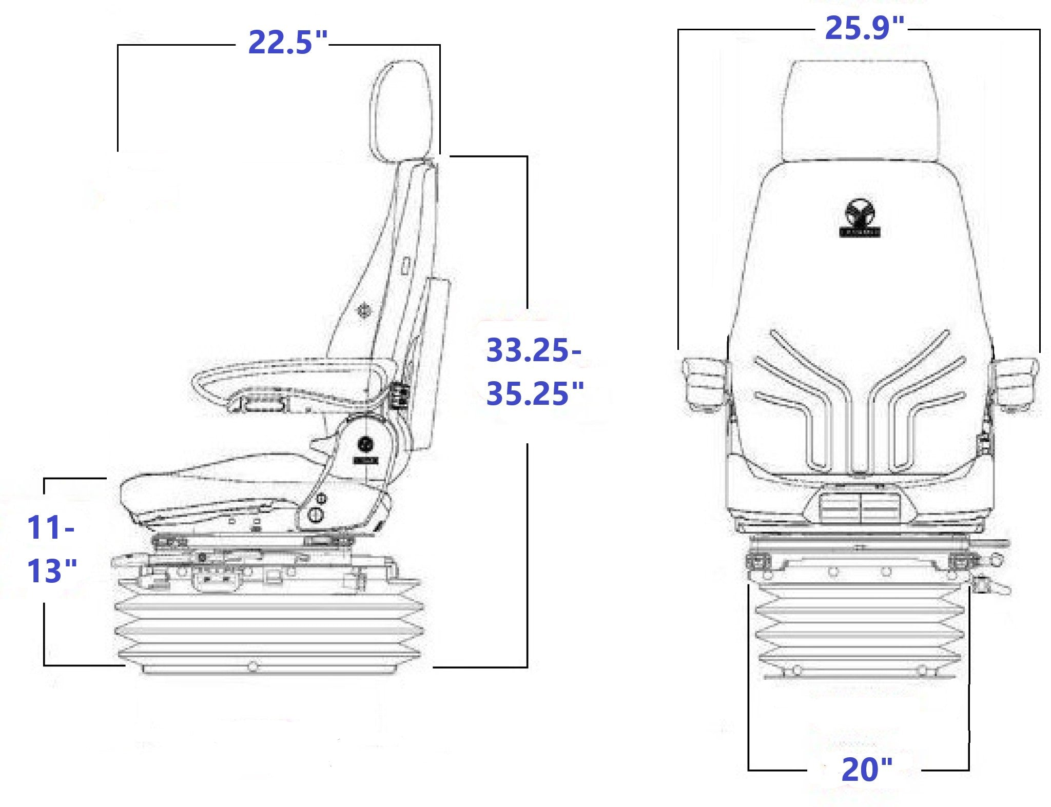 Grammer MSG85/732 NM Technical Drawing
