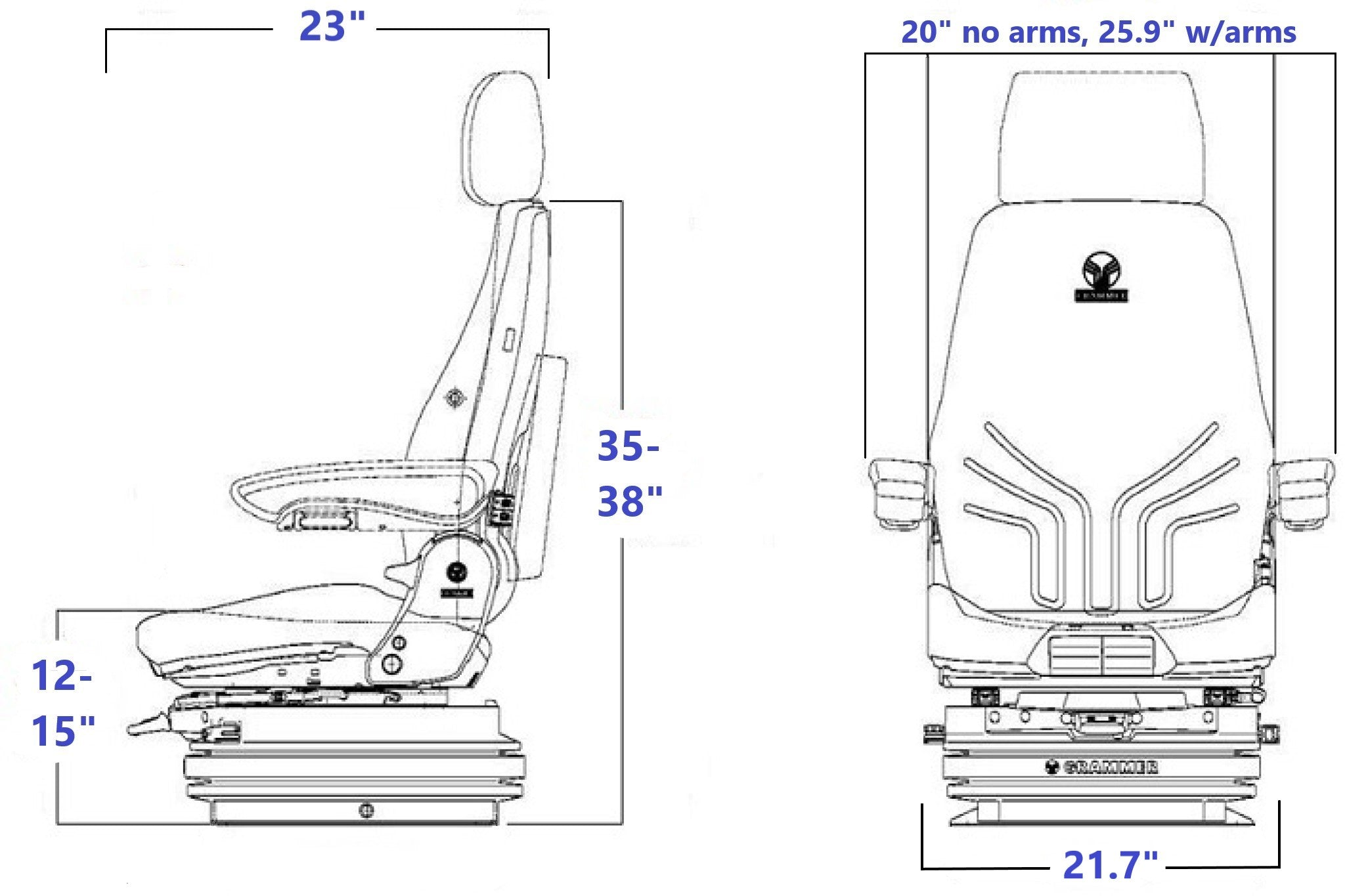 Grammer MSG95/742 Technical Drawing