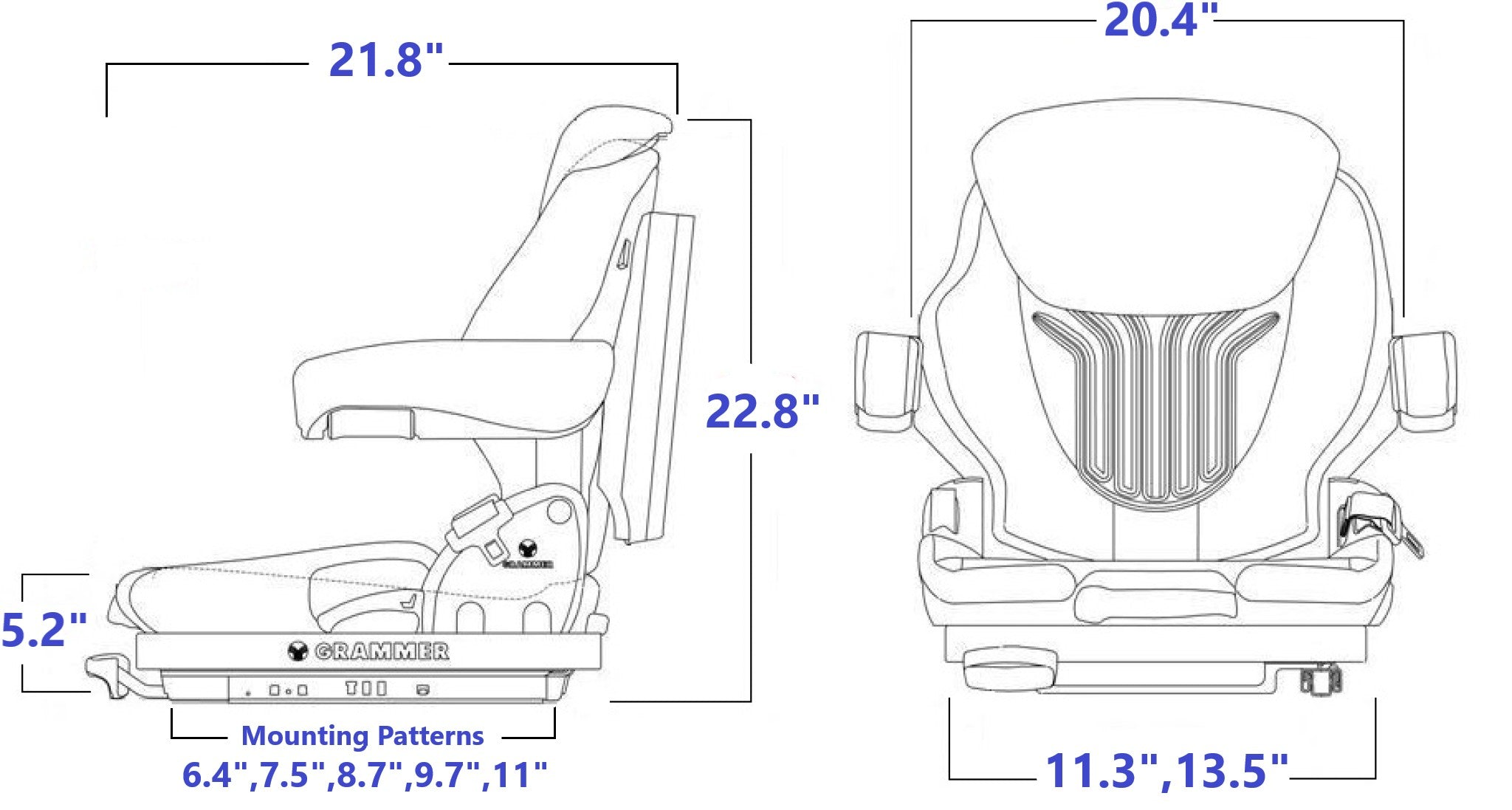 Grammer MSG65/531 Technical Drawing