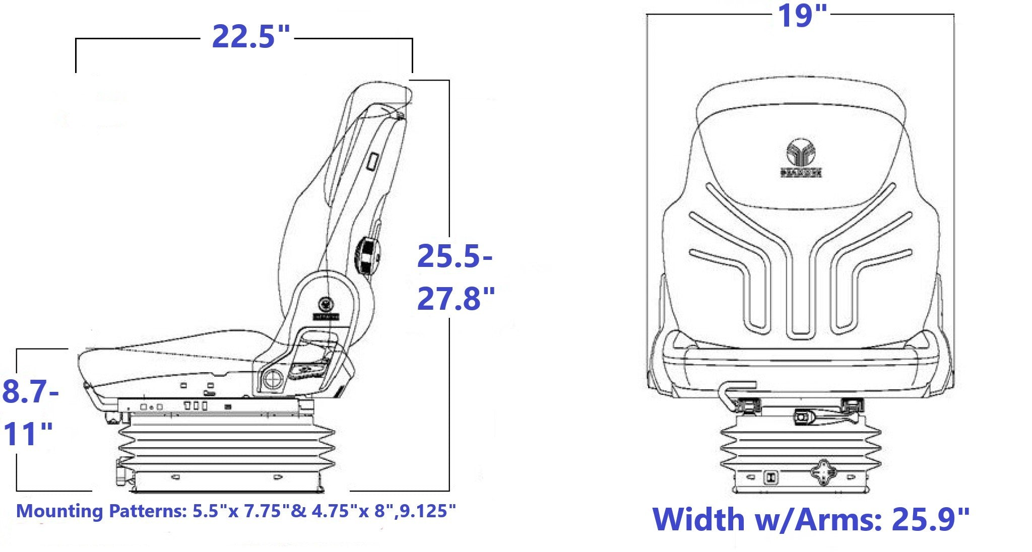 Grammer MSG83/731 Technical Drawing