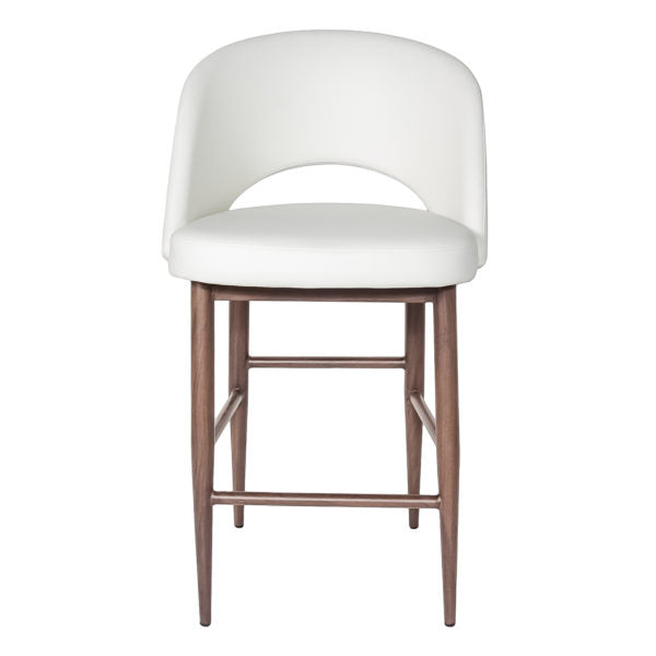 Celeste Bar Stool - White with Dark Walnut Base