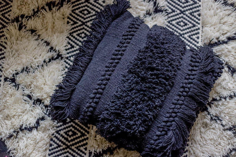 Bohemian Macrame Cushion Black