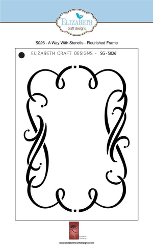 A Way With Stencils - Flourished Frame - Stencil - ElizabethCraftDesigns.com