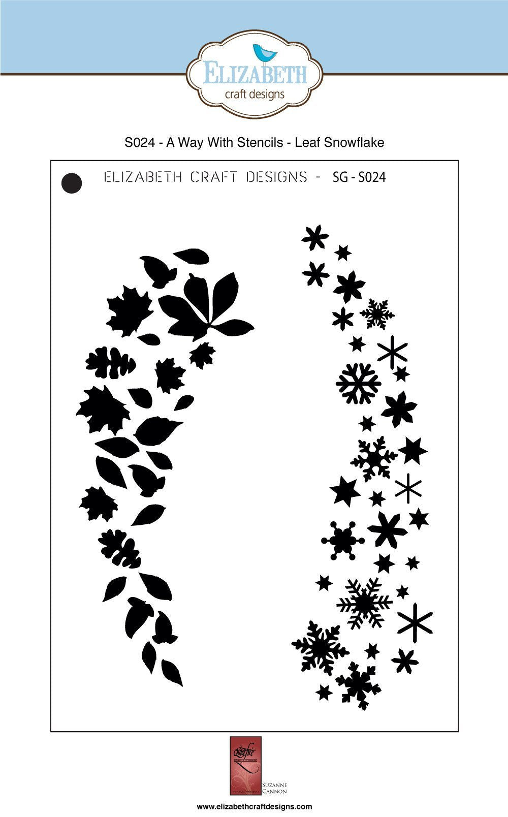 A Way With Stencils - Leaf Snowflake - Stencil - ElizabethCraftDesigns.com