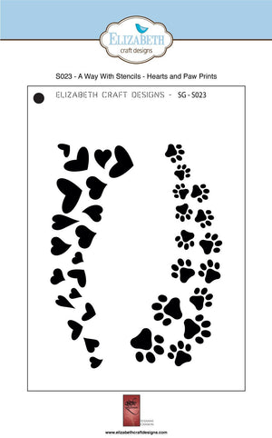 A Way With Stencils - Hearts and Paw Prints - Stencil - ElizabethCraftDesigns.com