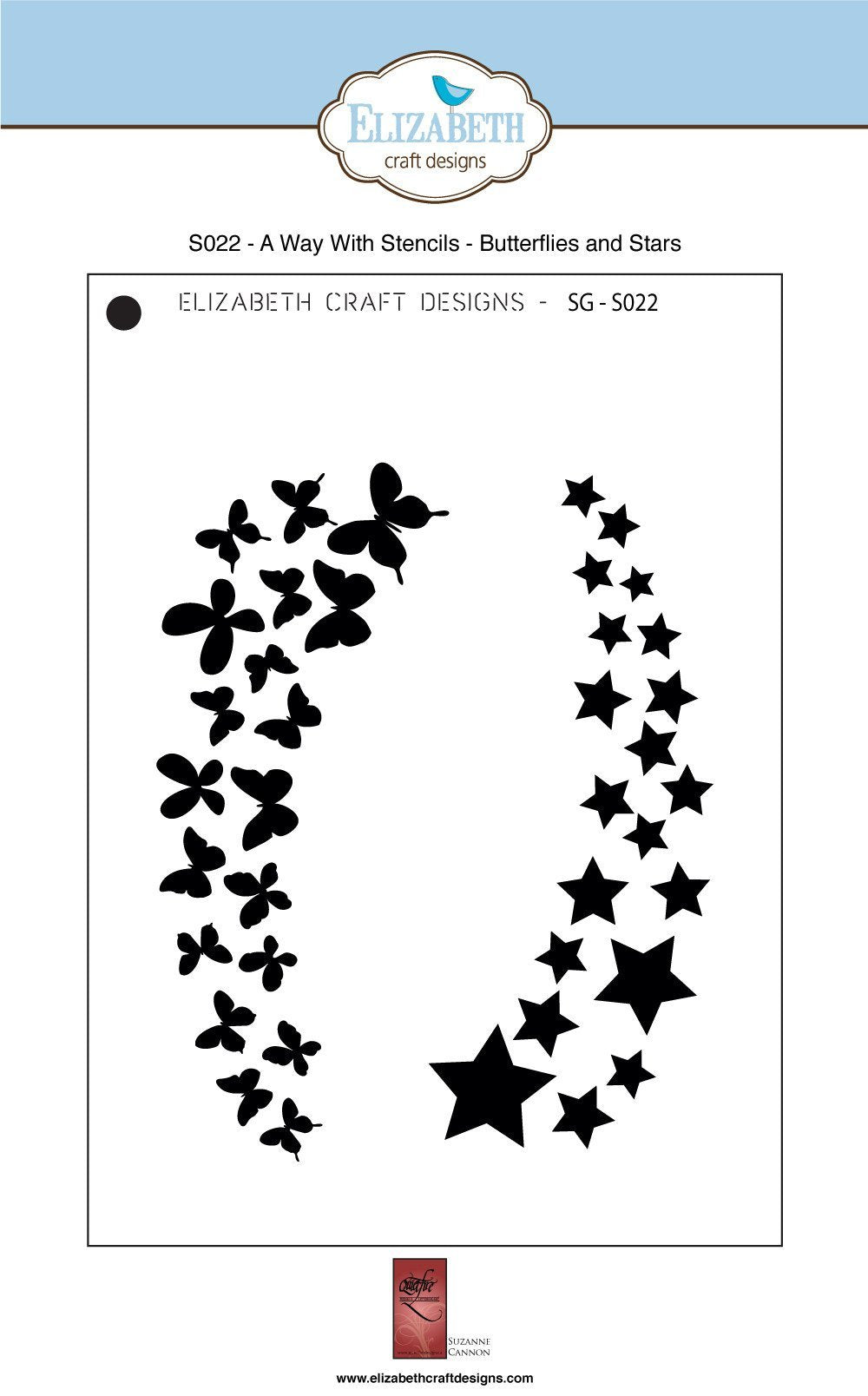 A Way With Stencils - Butterflies and Stars - Stencil - ElizabethCraftDesigns.com