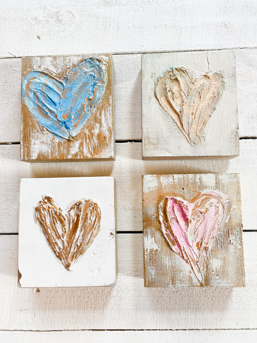 Painted Heart on Wood Block (6 x 6 x 4)