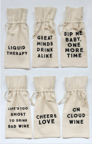 Cotton Wine Bags with Fun Sayings