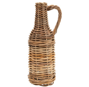 Woven Ratan Jug with Glass Bottle