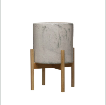 White Marble Stoneware Planter with Wood Stand