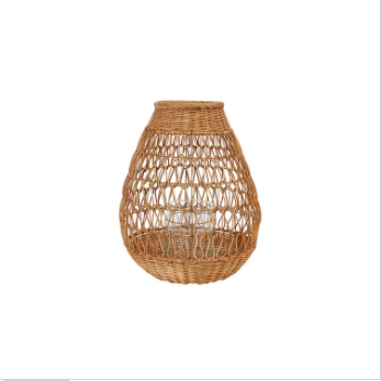 Hand-Woven Rattan Lantern with Glass Insert