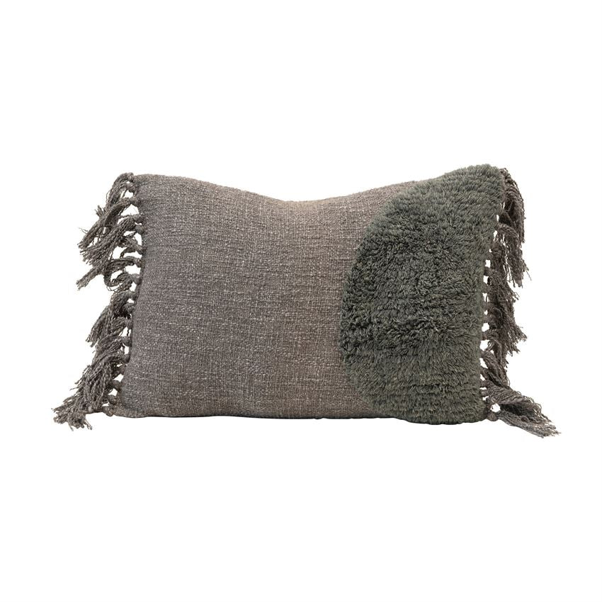 Grey Tufted Lumbar Pillow