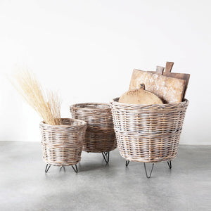 Hand-Woven Basket with Metal Feet