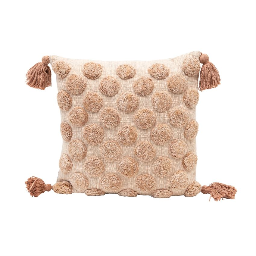 Blush Tufted Pillow with Tassels