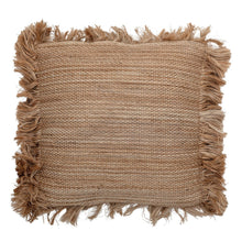Square Jute Pillow with Fringe