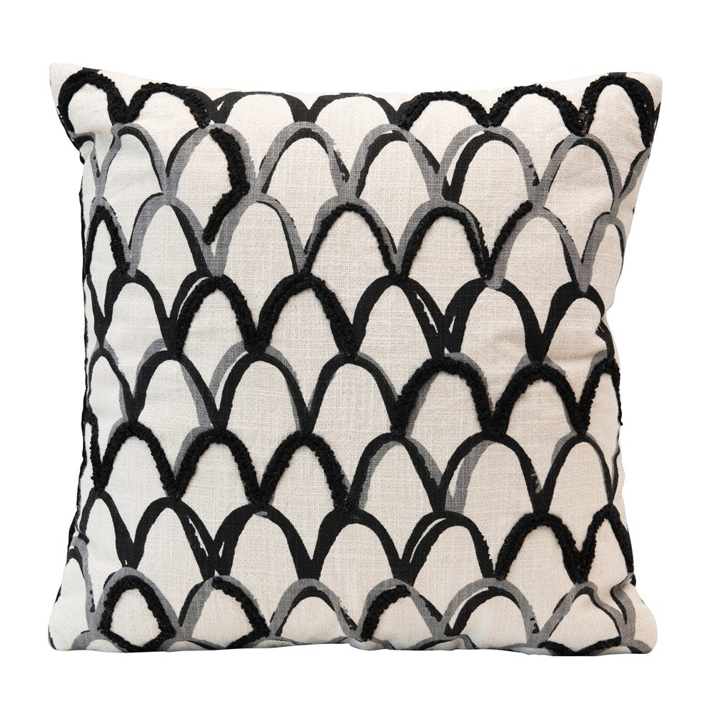 Square White and Black Pillow with Scallop Pattern