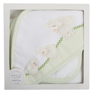 Lamb Hooded Towel and Washcloth Gift Set