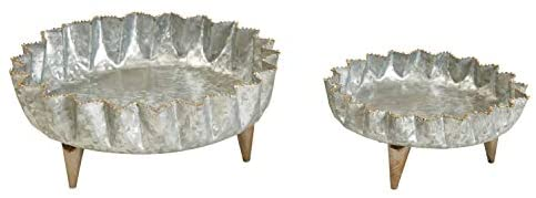 Galvanized Footed Tray